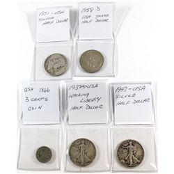 USA Lot: 1866 3-cent, 1937 Walking Liberty, 1943,1951 & 1958 D Silver 50-cent. 5pcs