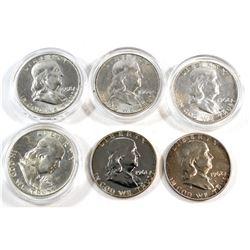 1958, 1960, 1961, 2x 1962, & 1963 USA Silver 50-cents. 6pcs