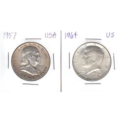 1957 & 1964 United States 50-cents. 2pcs