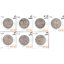 1941-1947 United States 50-cents VF or Better. Coins contain various impairments. Please view image.