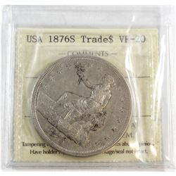 1876-S USA Trade Dollar ICCS Certified VF-20 (ICCS Holders cracked open)