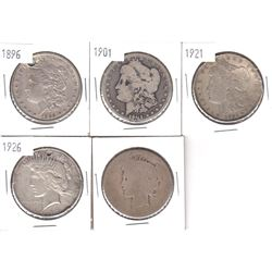 1896-1926 USA Silver Dollars. Coins contain various impairments. Please view scan. 5pcs