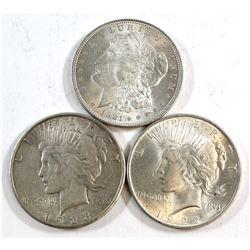 1921,1922, & 1923 USA Silver Dollars. 3pcs