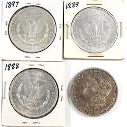 1879, 1888, 1889 & 1897 USA Silver Dollar. 4pcs