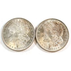2x 1921 USA Silver Dollars. 2pcs
