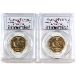 Pair of 2010-D United States Native American Dollars PCGS Certified SP-68: Pos. A & Pos. B. 2pcs.