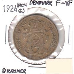1924 Denmark 2 Kroner F-VF