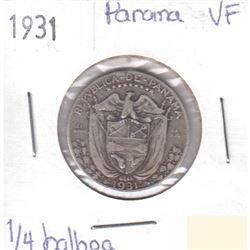 1931 Panama Silver 1/4 Balboa Very Fine