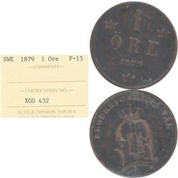 1879 Sweden 1 Ore ICCS Certified F-15