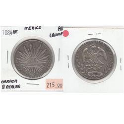 1884AE Mexico Oaxaca Silver 8 - Reales AU-50