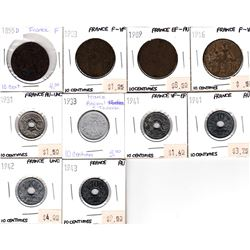 Lot of 10x French Coinage Dated 1855-1943 in Fine to UNC. 10pcs