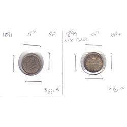 1891 Canada 5-cent EF & 1899 Canada 5-cent VF+. 2pcs
