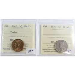 1934 Canada 5-cent ICCS Certified EF-40 & 1942 5-cent Tombac MS-63. 2pcs