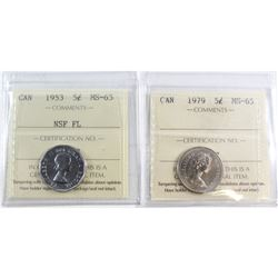 5-cent Canada 1953 NSF FL & 1979 ICCS Certified MS-65. 2pcs