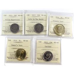 Estate Lot of 5x Canada 25-cent and Loon Dollar ICCS Certified MS-66. This lot includes: 2013 25-cen