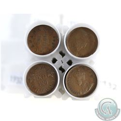 Estate Lot of 4x 1932 George V Canada 1-cent Roll of 50pcs as stated on holder. Sold as is, No Retur