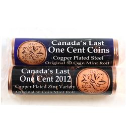 2012 Canada's Last Magnetic and Non Magnetic Canada 1-cent Original Rolls of 50pcs. 2 Rolls