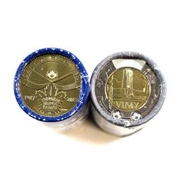 2017 Canada Toronto Maple Leafs Loon Roll & 2017 Canada Vimy $2 Roll. Both Rolls are Special Wrap Or