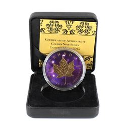 2015 Canada $5 Ruthenium Plated, Coloured, and Gold Plated 1oz Silver Maple (Tax Exempt). Comes with
