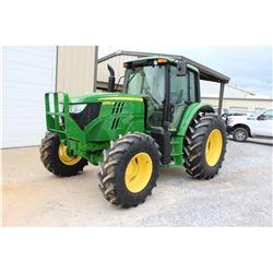 2013 JOHN DEERE 6105M FARM TRACTOR; VIN/SN:777752 - MFWD, 3 PTH, PTO, 3 HYD. REMOTES, ECAB W/ AC, 18