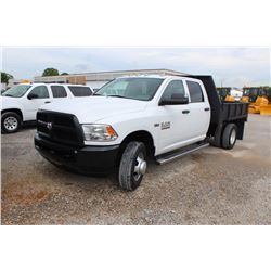 2013 DODGE 3500 FLATBED TRUCK; VIN/SN:3C7WRSCT2DG524210 - CREW CAB, V8 GAS, A/T, AC, FLATBED BODY, W