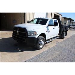 2013 DODGE 3500 FLATBED TRUCK; VIN/SN:3CTWRSCTXDG565149 - CREW CAB, V8 GAS, A/T, AC, 9' STEEL FLATBE