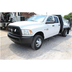 2012 DODGE 3500 FLATBED TRUCK; VIN/SN:3C7WDSCT5CG232144 - CREW CAB, V8 GAS, A/T, AC, 9' FLATBED BODY
