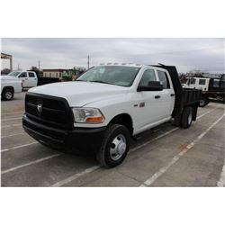 2012 DODGE 3500 FLATBED TRUCK; VIN/SN:3C7WDSCT2CG166295 - CREW CAB, V8 GAS, A/T, AC, 9' STEEL FLATBE