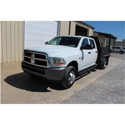 2011 DODGE 3500 FLATBED TRUCK; VIN/SN:3D6WZ4CT6BG578058 - CREW CAB, V8 GAS, A/T, AC, 9' STEEL FLATBE