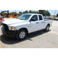 2015 DODGE 1500 PICKUP TRUCK; VIN/SN:1C6RR6FT3FS742138 - EXT. CAB, V8 GAS, A/T, AC, BED COVER, 64,86