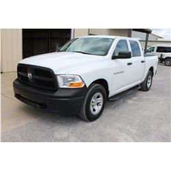 2012 DODGE 1500 PICKUP TRUCK; VIN/SN:1C6RD7KP5CS283283 - 4X4, CREW CAB, V8 GAS, A/T, AC, BED COVER,