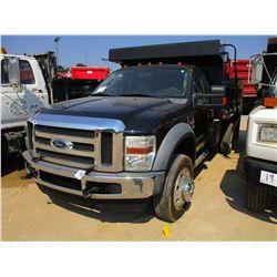 2008 FORD F550 DUMP, VIN/SN:1FDAF57R28EC05043 - S/A, V8 POWER STROKE DIESEL ENGINE, 5 SPEED TRANS, 1