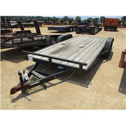 TRAILER WORLD TAG TRAILER, - 7' X 18' T/A TAG TRAILER, ELECTRIC BRAKE, WOOD FLOOR, SLIDE IN RAMP, 4'