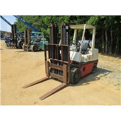NISSAN CRGH02F35V FORKLIFT, VIN/SN:920157 - 7,750# CAP, TRIPLE STAGE, LP GAS, METER READING 9,799 HO