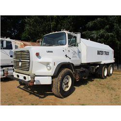 1987 FORD L9000 WATER TRUCK, VIN/SN:1FDZT90W3HVA24635 - T/A, CUMMINS DIESEL ENGINE, 8LL TRANS, 44K R