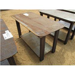 """STEEL TABLE, - W/SHELF, 29"""" X 57"""""""