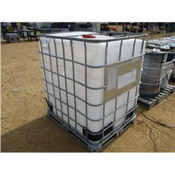350 GALLON PLASTIC CONTAINER W/METAL CAGE