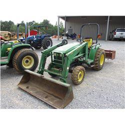 JOHN DEERE 4400 FARM TRACTOR, VIN/SN:341349 - MFWD, 3 PTH, PTO, JOHN DEERE 430 FRONT END LOADER ATTA