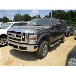 2008 FORD F250 PICKUP, VIN/SN:1FTSX21538EA98207 - 4X4, EXT CAB, GAS ENGINE, A/T, CAMPER SHELL, BED S