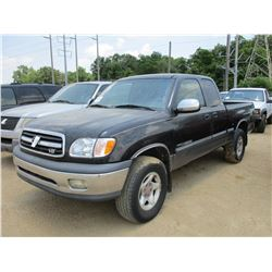 2000 TOYOTA SR5 PICK UP, VIN/SN:5TBBT4411Y5003193 - 4X4, EXTENDED CAB, V8 GAS ENGINE, A/T, ODOMETER