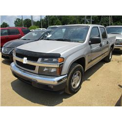 2008 CHEVROLET COLORADO PICK UP, VIN/SN:1GCC533E488213322 - CREW CAB, V6 GAS ENGINE, A/T, BED COVER,