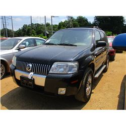 2007 MERCURY MARINER, VIN/SN:4M2CU97167KJ07177 - GAS, A/T, ODOMETER READING 140,222 MILES