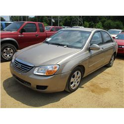 2008 KIA SPECTRA, VIN/SN:KNAFE121985499058 - GAS ENGINE, A/T, ODOMETER READING 171,388 MILES