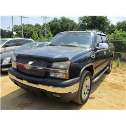 2006 CHEVROLET AVALANCHE VIN/SN:3GNEC12Z66G195774 - GAS ENGINE, A/T, ODOMETER READING 125,724 MILES