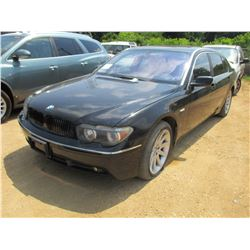 2003 BMW 745 LI SEDAN, VIN/SN:W2AGN63413DR11322 - GAS ENGINE, A/T