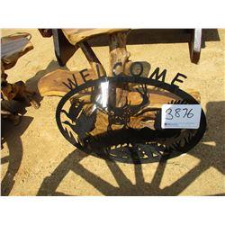 METAL WELCOME SIGN, WILDLIFE SCENE