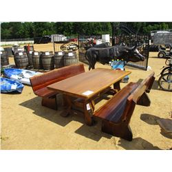 """78"""" TEAK WOOD TABLE W/ (2) BENCHES"""
