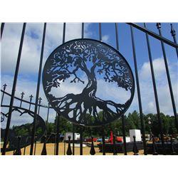 16' IRON GATE W/POST, TREE OF LIFE SCENE