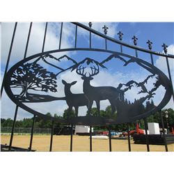 16' IRON GATE DEER SCENE WITH POST