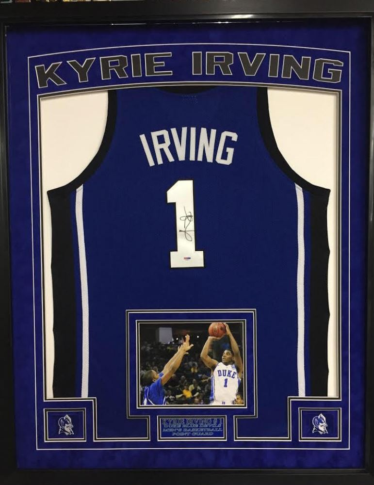 big sale 16ec4 8a464 Kyrie Irving Signed Duke Blue Devils 35x43 Custom Framed ...